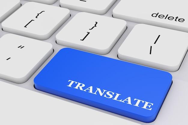 Blaue taste übersetzen auf weißer pc-tastatur extreme nahaufnahme. 3d-rendering