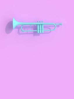 Blaue trompete auf veilchen