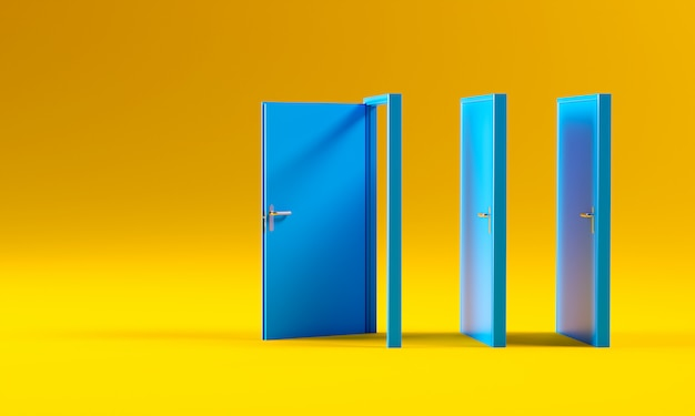 Blaue türen auf gelb
