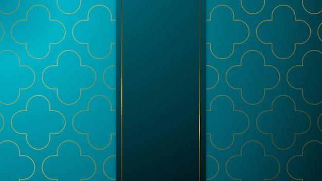 Blaue und goldene papierschnittkunst mit abstraktem hintergrund des musters