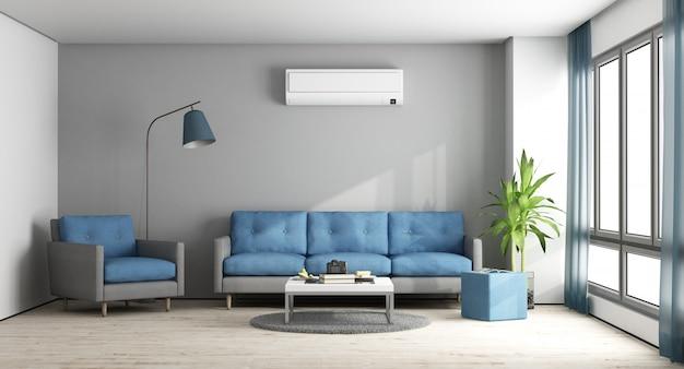Blaue und graue moderne lounge