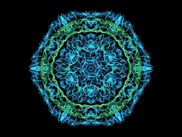Blaue und grüne abstrakte flammenmandala-schneeflocke