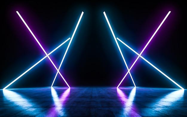 Blaue und purpurrote neonröhrenlichter der futuristischen science fiction, die mit reflexionen glühen, leeren raum.