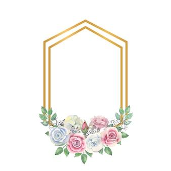 Blaue und rosa rosenblüten, grüne blätter, beeren in einem goldenen polygonalen rahmen