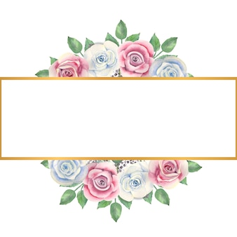 Blaue und rosa rosenblumen, grüne blätter, beeren in einem goldenen rechteckigen rahmen