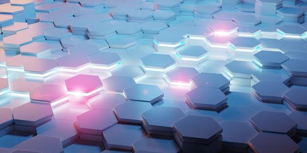 Blaue und rosa wiedergabe des hexagonhintergrund-musters 3d