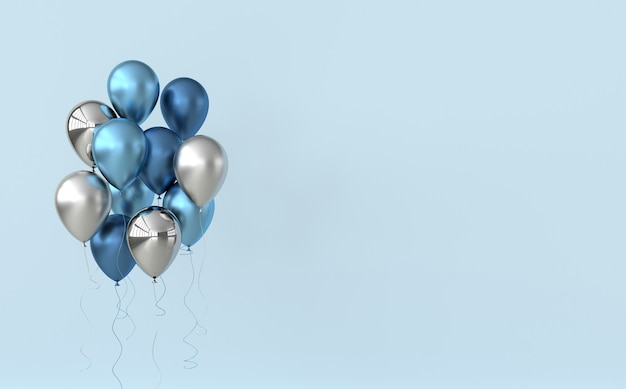 Blaue und silberne luftballons