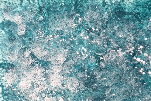Blaue und weiße farben des hintergrunds der abstrakten kunst. aquarellmalerei auf leinwand mit türkisfarbenem farbverlauf.