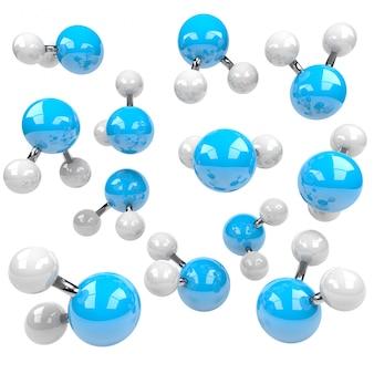 Blaue und weiße molekülstruktur auf weißem hintergrund