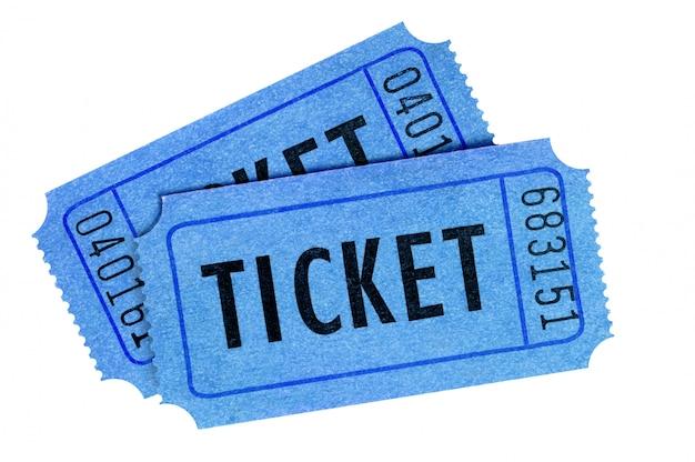 Blaue vorderansicht von zwei eintrittskarten lokalisiert auf weiß