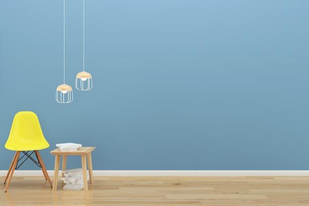 Blaue wand gelb stuhl holzboden hintergrund textur lampe buch