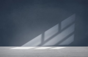 Blaue Wand in einem leeren Raum mit konkretem Boden