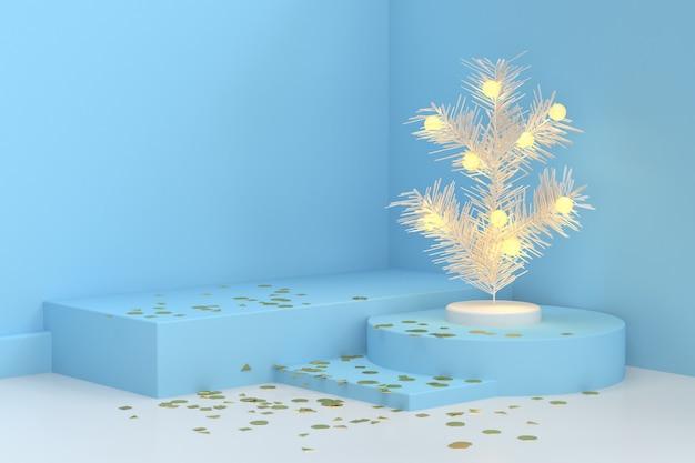 Blaue weiße abstrakte wiedergabe des weihnachtsbaum-lichtes 3d der szene