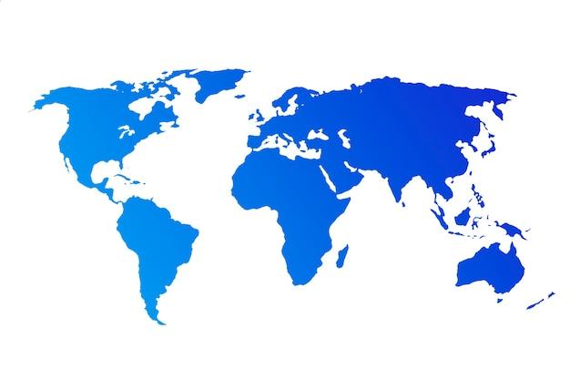 Blaue weltkarte isoliert auf weißem hintergrund