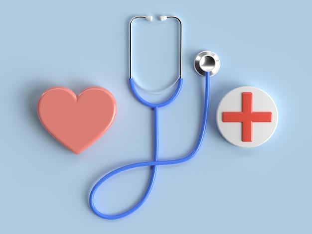 Blaue wiedergabe der doktorkopfhörer- / stethoskopbehandlungsausrüstung 3d