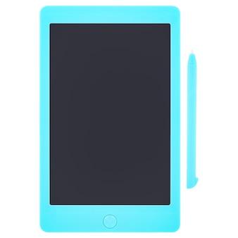 Blaue zeichnungstablette und -stift getrennt auf einem weißen hintergrund. tablet mit schwarzem, leerem bildschirm, modell.