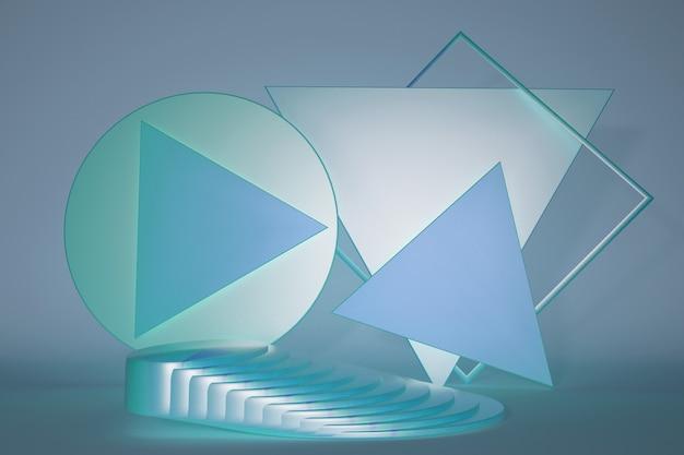 Blauer 3d-podiumsstand mit leerem platz für die produktpräsentation