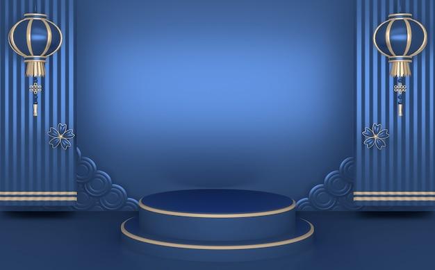 Blauer abstrakter geometrischer hintergrund, japanisches artpodestblau-konzept .3d-rendering
