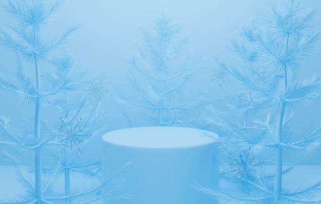 Blauer abstrakter hintergrund mit podium und baum weihnachten