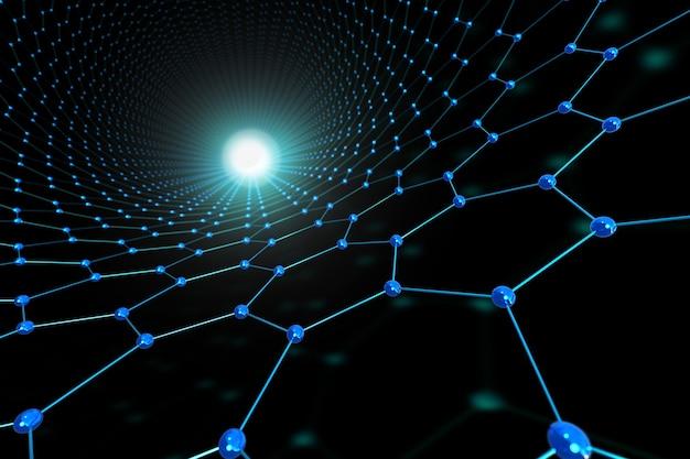Blauer abstrakter sechseck- und kugelhintergrund. verbindungs- und technologiekonzept.