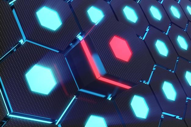 Blauer abstrakter sechseckiger leuchtender hintergrund, futuristisches konzept. 3d-rendering