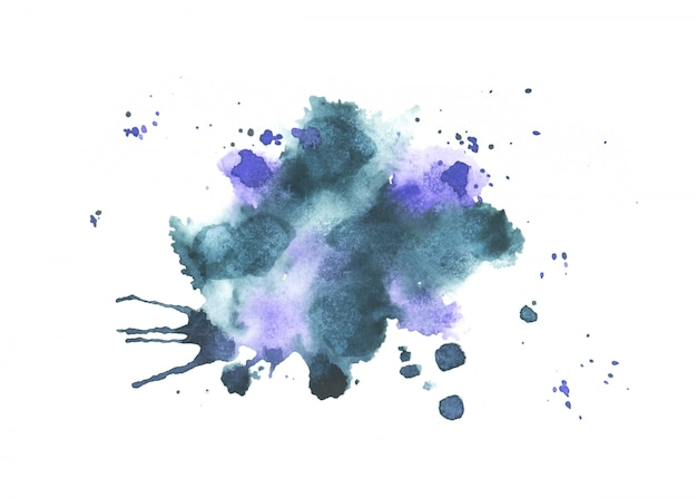 Blauer aquarellfleck schattiert farbenanschlag