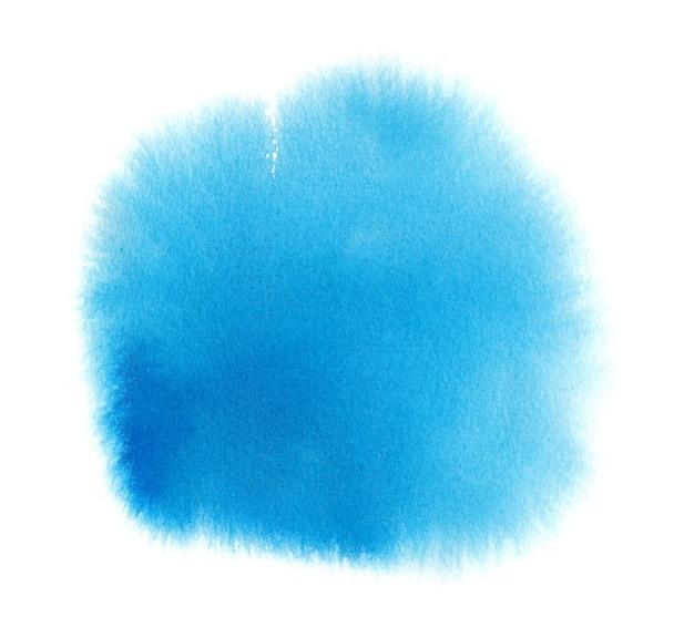 Blauer aquarelltexturfleck mit aquarellfarbenfleck, pinselstriche