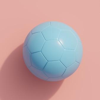 Blauer ball auf rosa, draufsicht