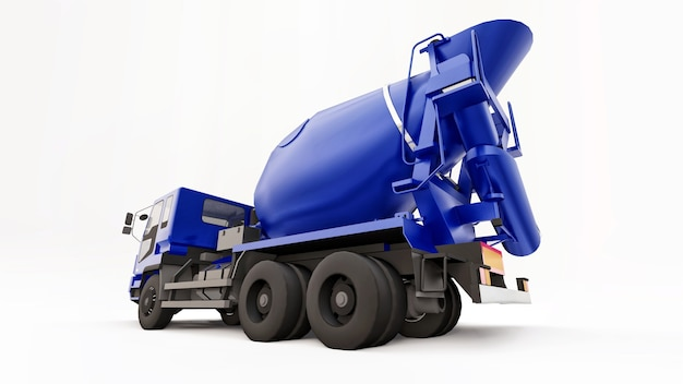 Blauer betonmischer-lkw-weißer hintergrund. dreidimensionale darstellung von baumaschinen. 3d-rendering.