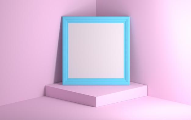 Blauer bildfotorahmen, der auf dem rosa podium steht.
