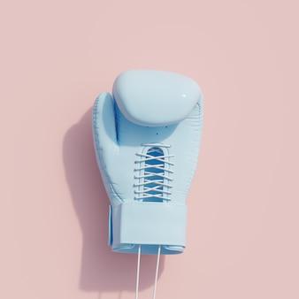 Blauer boxhandschuh auf rosa farbhintergrund. minimales sportkonzept. 3d render.