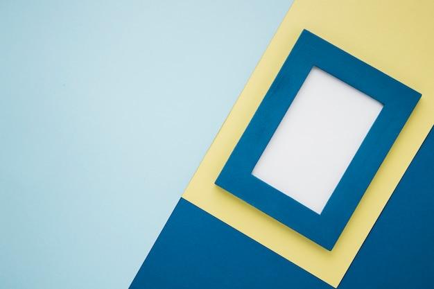 Blauer dekorativer rahmen der draufsicht