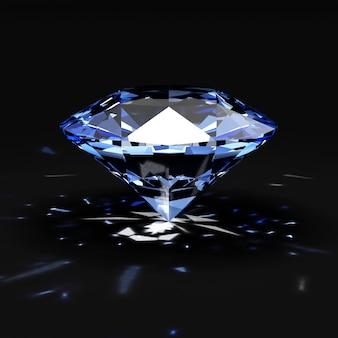 Blauer diamant mit leuchtenden strahlen auf schwarz