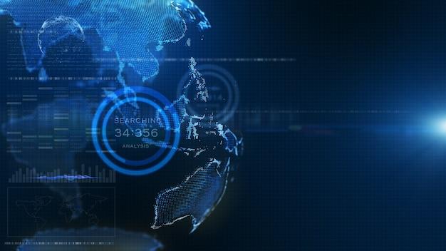 Blauer digitaler hud-erdweltinformationshologramm-benutzeroberflächenhintergrund