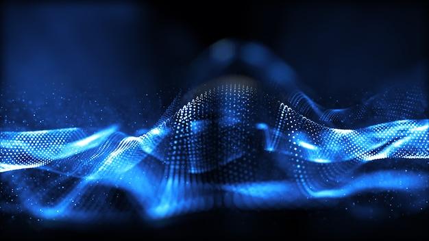 Blauer digitaler teilchenwellenfluss mit abstraktem hintergrund des bokeh.
