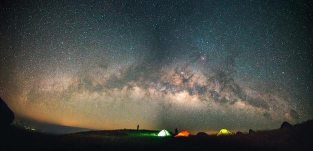 Blauer dunkler nächtlicher himmel mit stern milchstraße platzhintergrund
