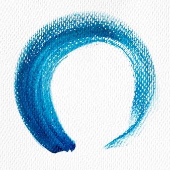 Blauer farbfleck der abstrakten kunst auf leinwand