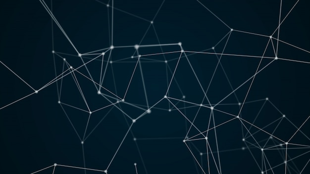 Blauer farbschwarzhintergrund der abstrakten futuristischen molekülstruktur Premium Fotos