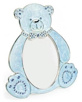 Blauer fotorahmen mit eingelegten diamanten in form eines bären
