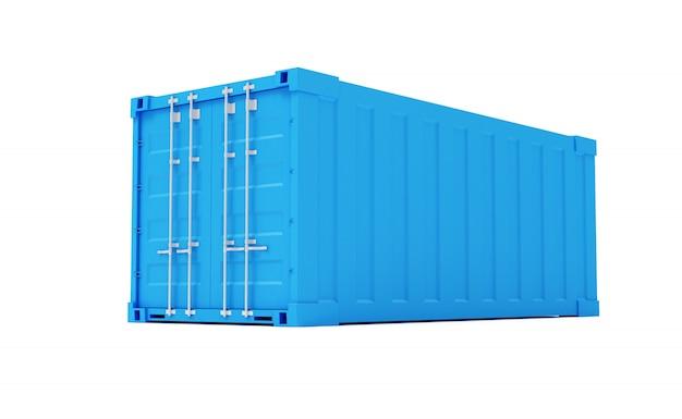 Blauer frachtbehälter lokalisiert auf weißem hintergrund. 3d-rendering