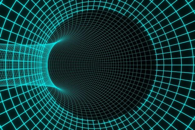 Blauer futuristischer digitaler technologischer tunnel 3d-rendering der animation des schwarzen lochs