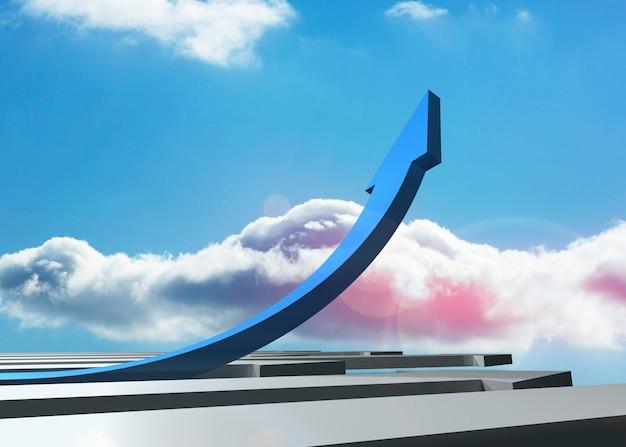 Blauer gebogener pfeil, der oben gegen himmel zeigt