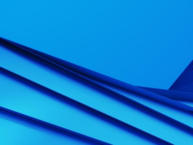 Blauer gefalteter geometrischer hintergrund des faltpapiers. 3d-rendering-illustration.