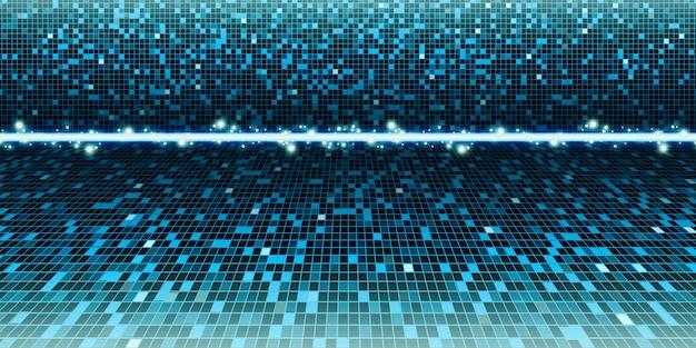 Blauer gemischter grüner hintergrund quadratische unschärfe, quadrat, abstraktes unschärfemosaik, illustration für wissenschaft, geschäft oder technologie 3d illustration Premium Fotos