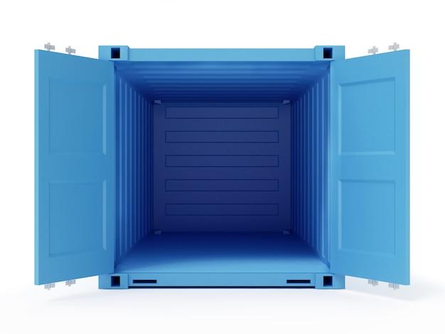 Blauer geöffneter frachtbehälter lokalisiert auf weißem hintergrund. 3d-rendering