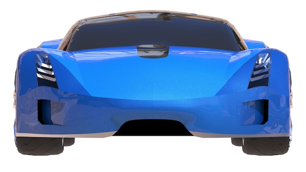 Blauer glänzender begriffssportwagen der zukunft