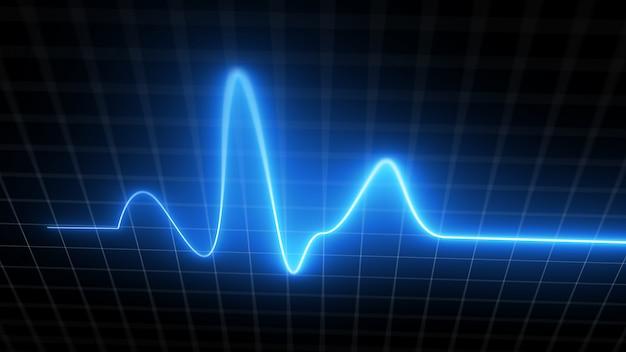 Blauer herzschlagmonitor ekg-linienmonitor mit beweglicher kamera, die das herzklopfen anzeigt. medizinisches elektrokardiogramm-bildschirmdiagramm