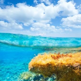 Blauer himmel ibiza formenteras unterwasserwasserlinie