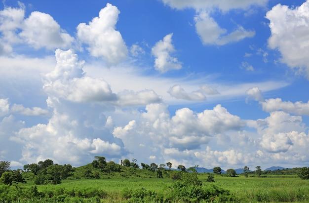 Blauer himmel und flauschige wolken mit berg- und wiesenlandschaft