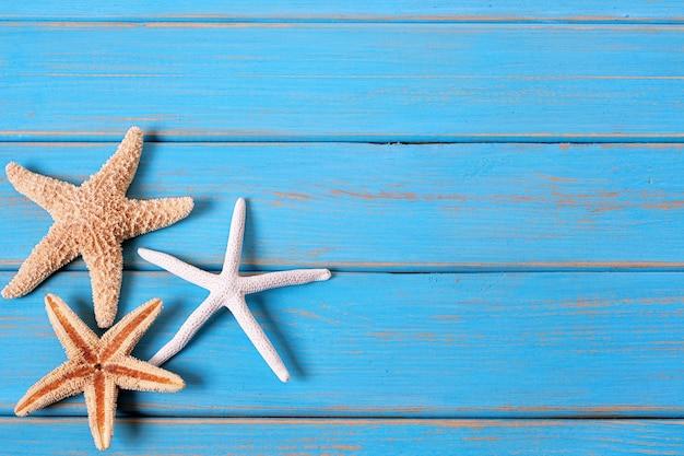 Blauer hintergrund des tropischen strandsommer-starfish